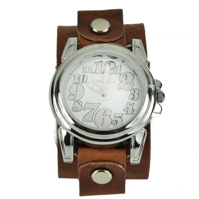 1 MAINNeimesis Womens Trendy Oversized Brown Leather Watch 1 credit Overstock.com
