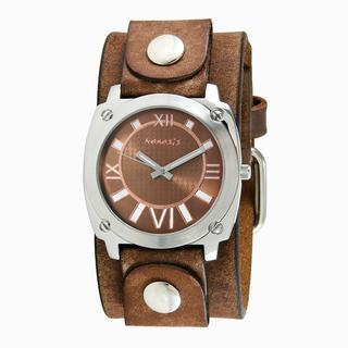Nemesis Mens Brown Roman Numerals Watch with Brown Leather Cuff Band 1 credit Overstock.com